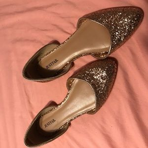Gold sparkly justfab size 9""